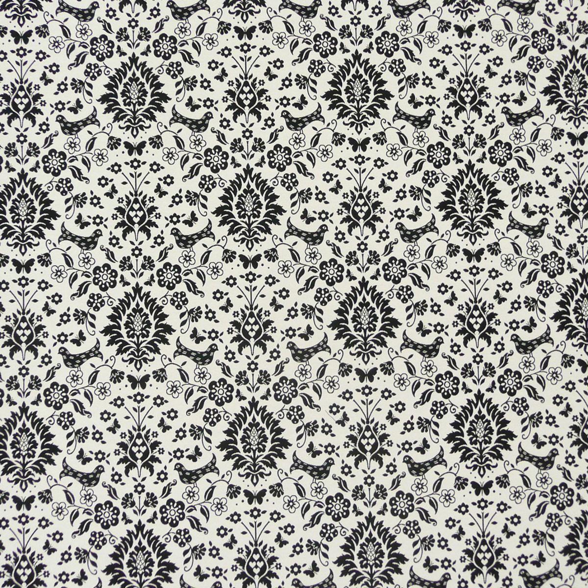 dekostoff wendestoff meterware vogel ornament schwarz wei alle stoffe stoffe gemustert stoff. Black Bedroom Furniture Sets. Home Design Ideas