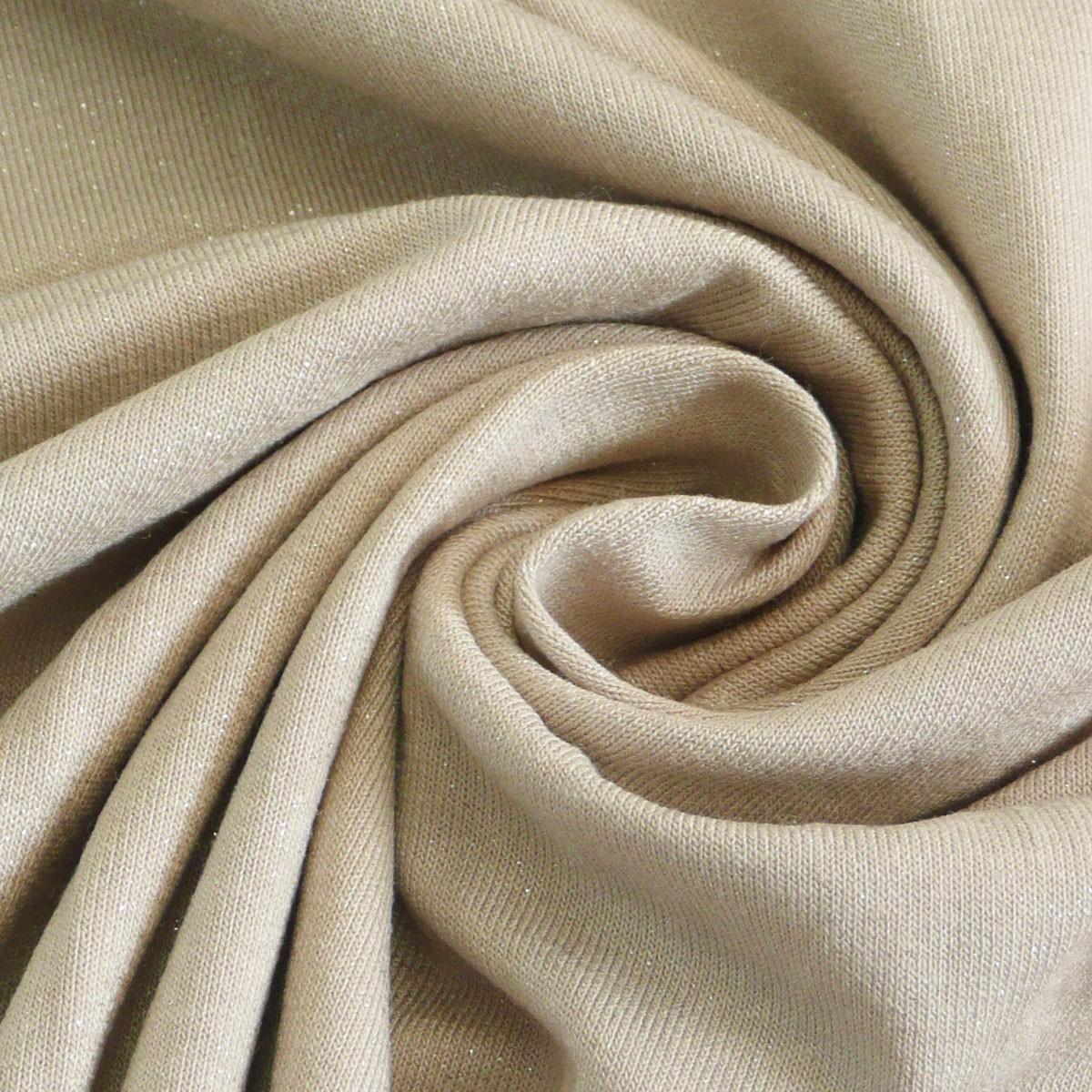 jersey stoff meterware glitzer beige 1 4m breite alle stoffe stoffe uni kunstfasern. Black Bedroom Furniture Sets. Home Design Ideas