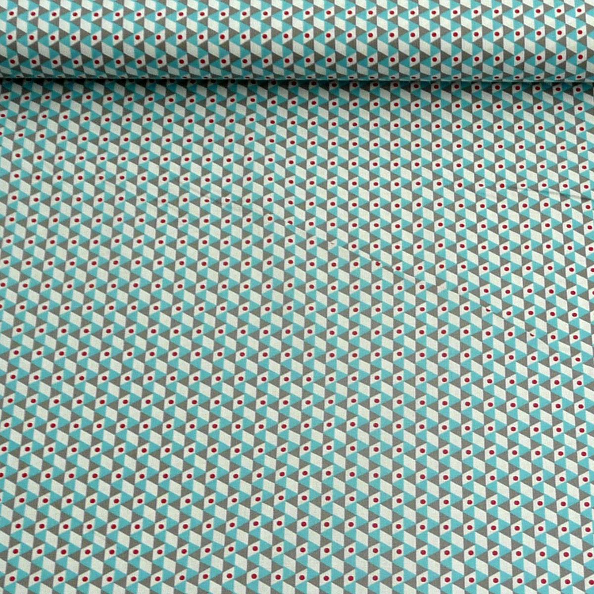 baumwollstoff stoff dreiecke wei grau t rkis rot alle stoffe stoffe gemustert stoff retro. Black Bedroom Furniture Sets. Home Design Ideas