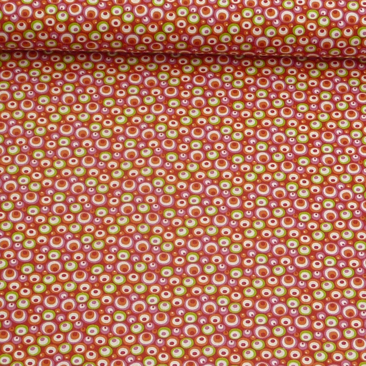 baumwollstoff stoff meterware kreise rot gr n rosa orange wei 1 6m breite alle stoffe stoffe. Black Bedroom Furniture Sets. Home Design Ideas