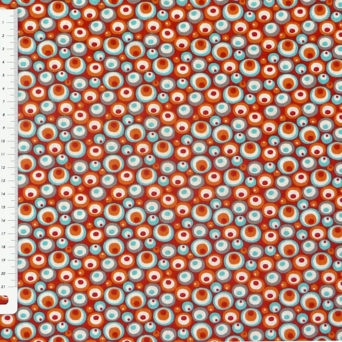 baumwollstoff stoff kreise rot orange t rkis grau wei alle stoffe stoffe gemustert stoff retro. Black Bedroom Furniture Sets. Home Design Ideas