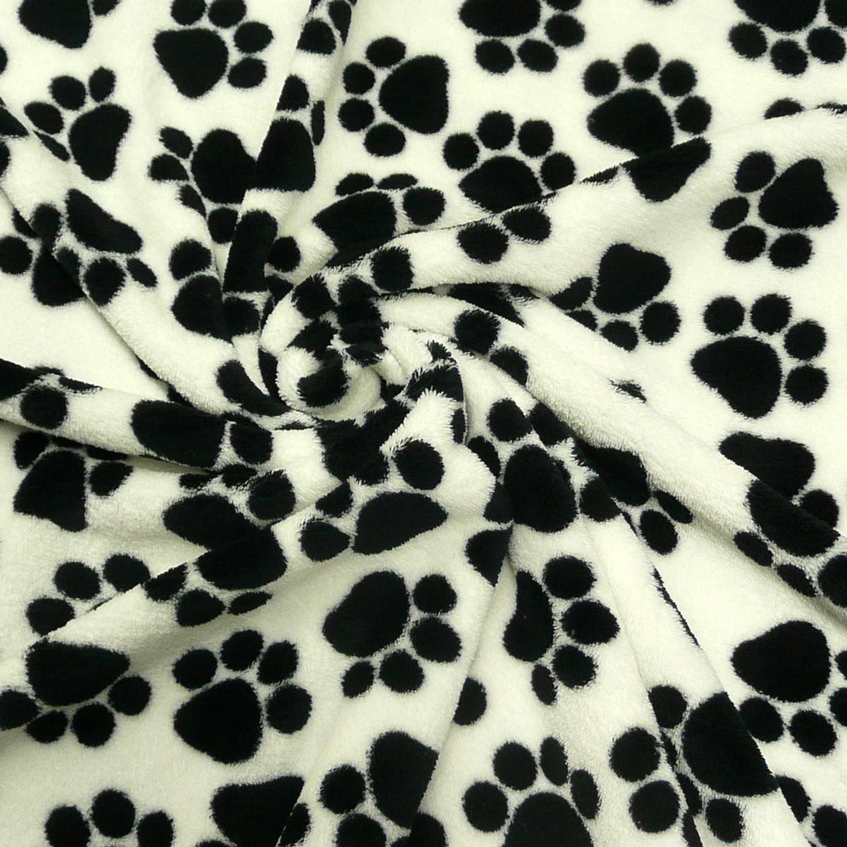 wellness fleece stoff wei mit pfoten tatzen alle stoffe stoffe gemustert stoff tiermotive. Black Bedroom Furniture Sets. Home Design Ideas